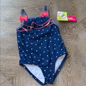 Penelope Mack | Blue White Pink Polkadot Swimsuit